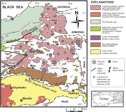 Simplified geologic map of Eastern Anatolia, showing the main tectonic features and volcanic centers (after Keskin, 2007). Abbreviations: EATF—East Anatolian transform fault, E-K-P—Erzurum-Kars Plateau, NATF—North Anatolian transform fault, NEAFZ—Northeast Anatolian fault zone.