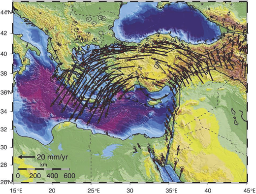 Digital elevation map of Eastern Anatolia and surroundings, showing global positioning system (GPS) velocities relative to the Eurasian plate. The elevation data are from the SRTM30 PLUS (http://topex.ucsd.edu/WWW_html/srtm30_plus.html; Reilinger et al., 2010).