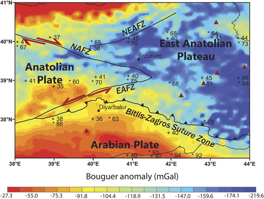 Complete Bouguer anomaly map of Eastern Anatolia from the European Improved Gravity Model of the Earth (EIGEN-6C4; Förste et al., 2014). Red triangles show Holocene volcanoes. The numbers in the map show the lithosphere-asthenosphere boundaries (stars) and Moho depths (crosses) in the region from receiver function and seismic tomography (Angus et al., 2006; Kind et al., 2015; Delph et al., 2015). Abbreviations: NAFZ—North Anatolian fault zone, EAFZ—East Anatolian fault zone, NEAFZ—Northeast Anatolian fault zone.