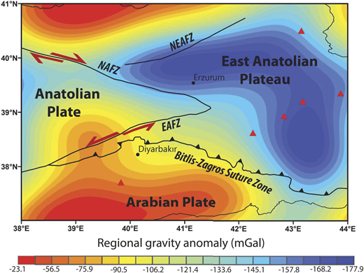 Regional gravity anomaly map of Eastern Anatolia. Four major tectonic features of the region are Bitlis-Zagros suture zone, East Anatolian fault zone (EAFZ), North Anatolian fault zone (NAFZ), and Northeast Anatolian fault zone (NEAFZ). Red triangles show Holocene volcanoes.