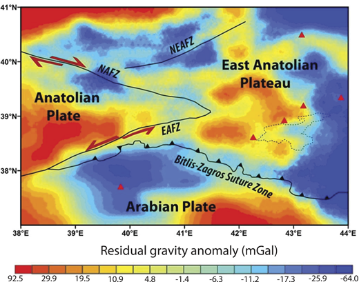 Residual gravity anomaly map of Eastern Anatolia. Red triangles and dashed black line show Holocene volcanoes and the location of Lake Van, respectively. Abbreviations: NAFZ—North Anatolian fault zone, EAFZ—East Anatolian fault zone, NEAFZ—Northeast Anatolian fault zone.