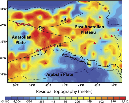 Residual topography of Eastern Anatolia based on Airy isostasy model. Red triangles show Holocene volcanoes. Abbreviations: NAFZ—North Anatolian fault zone, EAFZ—East Anatolian fault zone, NEAFZ—Northeast Anatolian fault zone.