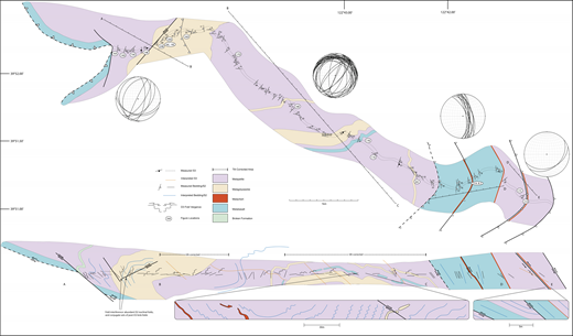 Map and composite cross section of Thomes Creek South Fork Mountain Schist transect (see Fig. 1 for location). Structural data have been projected onto lines AB to DE, which were drawn as far as possible normal to the strike of S2. In the tilt corrected areas the structures have been tilted 25° to the SW in the cross section, allowing for a view directly down the hinge lines of D3 folds. Stereoplots show the orientation of S2 in each section line.