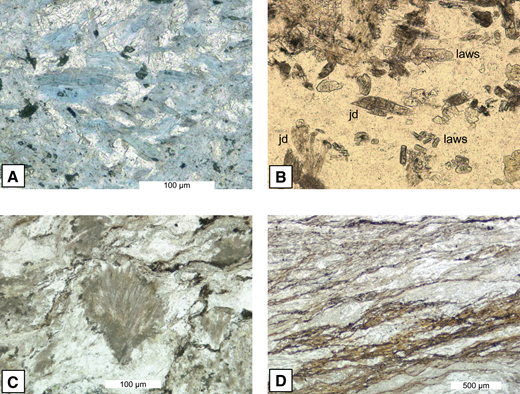 (A) Glaucophane (blue) and lawsonite (colorless) in metabasalt, Taliaferro Metamorphic Complex (TMC), Beaver Creek (N39°56.184, W122°59.377). Plane light. (B) Prismatic jadeite (jd) and lawsonite (laws) in quartz vein from foliation-parallel sheet-vein complex in pelitic schist (see Fig. 7A), TMC, Middle Eel (N39°49.765, W123°04.204). Plane light. (C) Metagreywacke with fibrous jadeite replacing detrital plagioclase (center of image), TMC, Beaver Creek, (N39°56.184, W122°59.377). Plane light. (D) Shear bands in sheared metapelite associated with normal faults (see Fig. 7B), TMC, Beaver Creek (N39°56.234, W122°59.227). Plane light.