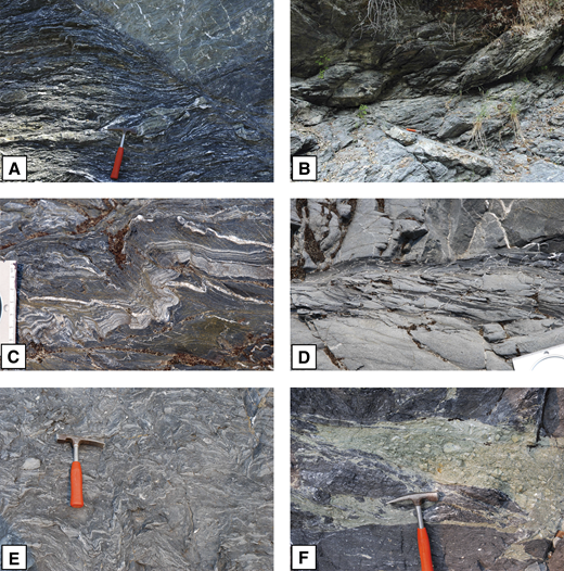 (A) Normal fault offsetting sheet-vein complex in pelitic schist, Taliaferro Metamorphic Complex (TMC), Middle Eel (N39°49.765, W123°04.204), looking E. This is one of several normal faults displacing SW. (B) Conjugate sets of normal faults cutting pelitic schist near upper contact of TMC in Beaver Creek (N39°56.234, W122°59.227), looking N. (C) Sheeted vein complex in pelitic schist, TMC, Middle Eel (N39°50.314, W123°03.911), looking S. Vein complex is folded, with axial plane crenulation cleavage. (D) Bedding (horizontal) and cleavage (dipping right) in lawsonite-albite facies metagreywacke, Middle Eel (N39°50.815, W123°03.650). Strongly deformed shale rafts are present near the stratigraphic top of the lower turbidite bed. (E) Folded broken formation with aligned sandstone blocks and rafts in a shaly matrix, lawsonite-albite facies, Middle Eel (N39°50.553, W123°03.783). (F) Raft of brecciated metavolcanic material in broken formation, lawsonite-albite facies, location as for (E).