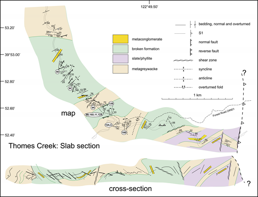 Structural map and cross section along the Slab section in Thomes Creek (see Fig. 1 for location).