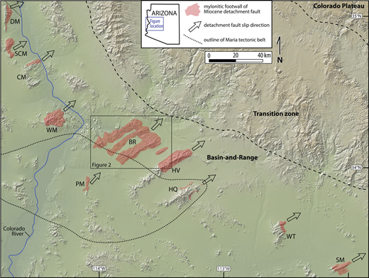 Shaded relief map (exported from the Marine Geoscience Data System, www.geomapapp.org) showing major detachment fault slip directions and the distribution of mylonitic rocks in the footwalls of the metamorphic core complexes in the lower Colorado River extensional corridor and central Arizona. The dotted line encompasses the Mesozoic Maria tectonic belt (after Spencer and Reynolds, 1990). Location names and references for the mylonite distribution and detachment slip direction: SM—South Mountains (Reynolds, 1986), WT—White Tank Mountains (Reynolds et al., 2002), HQ—Harquahala Mountains (Richard et al., 1990), HV—Harcuvar Mountains (Bryant, 1995; Singleton and Wong, 2016), BR—Buckskin-Rawhide Mountains (Bryant,1995; Singleton, 2013a, 2015), PM—Plomosa Mountains (Strickland et al., 2017a, 2017b), WM—Whipple Mountains (Davis et al.., 1980; Davis and Anderson, 1991), CM—Chemhuevi Mountains (John, 1987; Barbara John, 2017, personal commun.), SCM—Sacramento Mountains (McClelland, 1982; Simpson et al., 1991; Pease and Argent, 1999), DM—Dead Mountains (Mathis, 1982; Spencer, 1985; Keith Howard, 2017, personal commun.).
