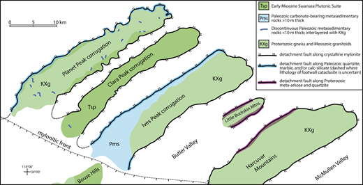 Highly simplified geologic map of the Buckskin-Rawhide metamorphic core complex showing the likely distribution of metasedimentary mylonites along the footwall corrugations (prior to postdetachment dextral faulting). The map is based on this study, Bryant (1995), Shackelford (1989), and Singleton (2011).