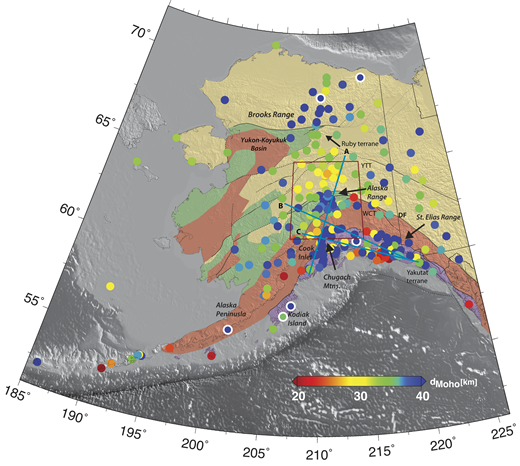 Moho depth (d) estimates at station locations with more than 15 receiver functions overlain by major faults in thin black and gray lines (dashed where approximately located; gray indicates located by magnetic gradients in part). Map colors denote broad crustal categories of terranes, based primarily on dominant bedrock geology and isotopic characteristics: yellow—continental and marginal basins, including Yukon Tanana terrane (YTT); orange-red—ocean plateau and arc, including the Wrangellia composite terrane (WCT); green—clastic marine basins; purple—accretionary complex. The circles with white outlines are stations discussed in detail in the text and shown in Figure 3 (Fig. DR1). From north to south: TA.C27K, northeastern Alaska; TA.TOLK and XR.TFS, northern stations in the Brooks Range; AK.KLU, in the Chugach Mountains; II.KDAK, at the eastern end of Kodiak Island; AT.OHAK, in central Kodiak Island; AT.CHGH, on the Alaska Peninsula. The red polygon denotes the area presented in Figure 5. DF—Denali fault.