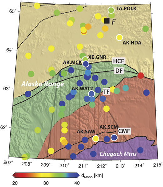 Moho depth (d) estimates at stations located in central Alaska with more than 15 receiver functions. See Figure 4 for terrane descriptions. The black lines indicate major faults; solid are well located, dashed are buried, dotted are inferred from magnetic anomalies combined with regional-scale geologic maps. HCF—Hines Creek fault; DF—Denali fault; TF—Talkeetna fault; CMF—Castle Mountain fault. The polygon with a lined pattern represents the interpreted extent of the Yakutat terrane at depth from Fuis et al. (2008). The circles with white outlines are stations that are discussed in the text and in Figure 3. These stations are also highlighted in Figure 1B. From north to south: TA.POKR—station north of Fairbanks; TA.G23K—southern station in the Ruby terrane; AK.HDA—central Alaska station south of Fairbanks; XE.GNR—station north of HCF; AK.MCK—station south of HCF; AK.WAT2—station in the Alaska Range north of Talkeetna fault; AK.SAW and AK.SCM—stations in the Chugach Mountains. The black square labeled F indicates Fairbanks.