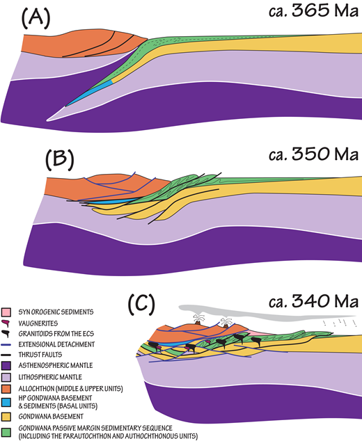 Model depicting our favored hypothesis to explain the genesis of the early Carboniferous suite (ECS). HP—high pressure. (A) Reconstruction ca. 365 Ma (Martínez Catalán et al., 2007; López-Carmona et al., 2014, and references therein) when the Gondwanan passive margin acted as the lower plate and was subducted down to a depth of ∼70 km. (B) Exhumation due to buoyancy, extension in the upper plate (allochthonous complexes) and generation of a lithospheric thickened root under the complexes, involving some lithospheric mantle wedges ca. 350 Ma. Deformation in the parautochthon and autochthonous units advances toward the east (in present-day coordinates). (C) Extension of the thickened crust accompanied by crustal melting and sparse lithospheric mantle melting. Magmatic intrusions caused also volcanic activity in the surface; ash-fall deposits are recorded in the foreland of the orogen, where deformation had not yet started.