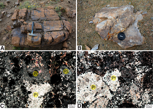 (A–D) Photographs of the Labuco ophiolite complex. (A–B) Close-up photographs of the surrounding metamorphic peridotites (A) and studied plagiogranites (B). (C–D) Photomicrographs (cross-polarized light) of plagiogranites. Pl—plagioclase.