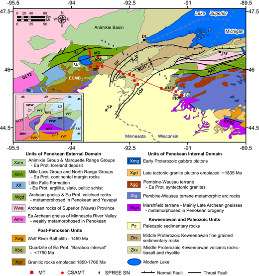 Generalized basement geologic map of the Penokean orogen and Midcontinent rift system (MRS). Magnetotelluric (MT) sites are red squares, and controlled-source audio (CSA) MT sites are red dots. The Wgn unit in our study area and to the west-southwest comprises the McGrath–Little Falls gneiss panel, including the particularly uplifted McGrath Dome (MG). Primary normal faults of the Midcontinent rift system regime are the Douglas fault (DF) and Lake Owens fault (LOF), which may have been reactivated in later compression to form the St. Croix horst (SCH). Four MT sites that were examined in closer detail are labeled (e.g., N03). Red profile line approximates location of the model views of Figures 4 and 5. Urban or geographic features noted include Duluth (DL), Aitkin (AT), Saint Paul (SP), Ironwood (IW), and Flambeau Ridge (FR). Geologic units are from digital base map of Cannon et al. (1999), modified from work of Ojakangas et al. (2001), Schulz and Cannon (2007), Van Schmus et al. (2007), Chandler et al. (2007, 2008), Holm et al. (2007), and Boerboom et al. (2011). Inset shows simplified regional basement geology mainly after Southwick (2014). Its elements include Superior Wawa Province (SWW), Minnesota River Valley subprovince of the Superior Province (MRV), Penokean foreland terrane (PFT), Midcontinent rift system (MRS), Penokean Pembine-Wausau arc terrane (PPW), Archean Marshland terrane (MAT), and Yavapai terrane (YVP). Major structures include the Great Lakes tectonic zone (GLTZ), Niagara fault zone (NFZ), and Spirit Lake tectonic zone (SLTZ), where the last represents the regional Yavapai terrane suture zone. Abbreviations: ECMB—East-Central Minnesota batholith; EPSZ—Eau Pleine shear zone; MD—Malmo discontinuity; ML—Mille Lacs Lake; LS—Lake Superior; LM—Lake Michigan. Ea Prot—early Proterozoic; SPREE—Superior Province Rifting EarthScope Experiments data.