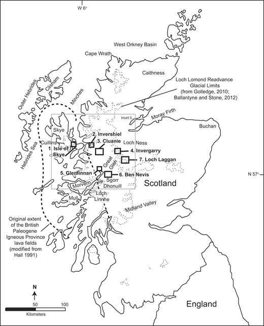 Study areas in Scotland mentioned in the text (adapted from Hall, 1991) and limits of the Loch Lomond readvance glacial (Golledge, 2010; Ballantyne and Stone, 2012). Inset box II represents the area in Figure 6.