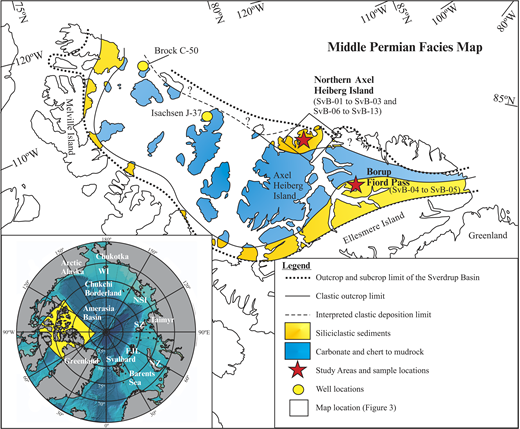 Arctic region map with delineated coastlines and facies map of the Middle Permian sequence of the Sverdrup Basin with study areas and sample locations. The black square on northern Axel Heiberg Island represents the area displayed on the map of Figure 3. FJL—Franz Josef Land; NZ—Novaya Zemlya; SZ—Severnaya Zemlya; NSI—New Siberian Islands; WI—Wrangel Island.