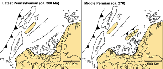 Simplified schematic model of proposed latest Carboniferous and Middle Permian paleogeography. Shadowed areas are interpreted as emerged land and coastal settings. Svalbard and Greenland are restored to their inferred position during each time period. Chukotka is shown rifting away from the Laurentian margin with an adjacent magmatic arc since the Devonian. Southeast-dipping subduction is shown underneath Crockerland (CL), producing its emergence in the form of a magmatic arc. Arctic Alaska is restored adjacent to the Sverdrup Basin. ChB—Chukchi Borderland; WI—Wrangel Island.