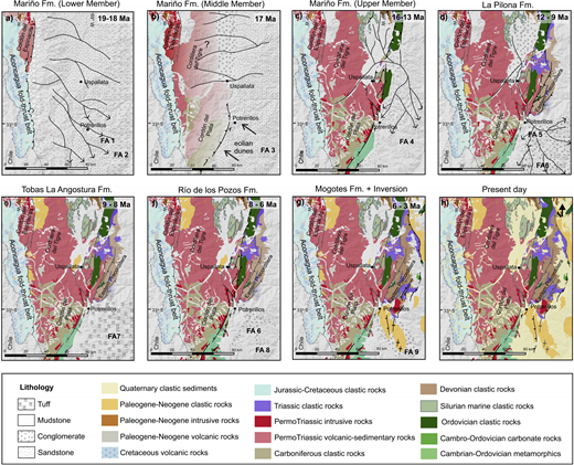 Paleogeographic reconstruction of the Cacheuta retroarc foreland basin from early Miocene to present, schematically illustrating the spatial and temporal evolution of the depocenter. The distribution of geologic units exposed during each time slice was inferred from the integration of detrital zircon, conglomerate clast count, and petrographic data, coupled with structural data from companion studies (e.g., Giambiagi et al., 2012; Hoke et al., 2014).