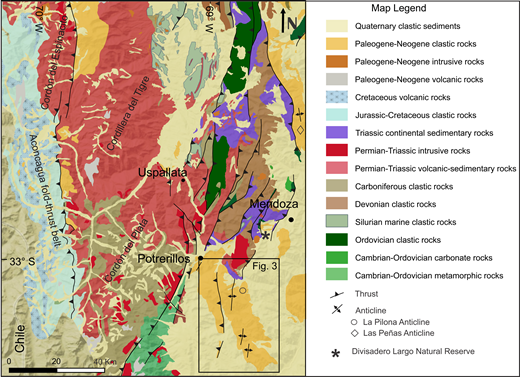 Regional geologic map of the south-central Andes displaying the distribution of geologic units and structures adjacent to the Cacheuta basin. Inset outlines the Cacheuta basin, with detailed geologic map displayed in Figure 3.