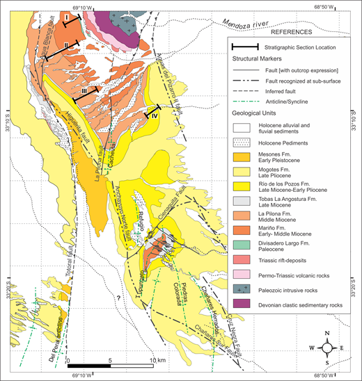 Geologic map of the Cacheuta basin, modified from Giambiagi et al. (2015). Geographic locations are illustrated on Figures 1 and 2. This map displays stratigraphic subdivisions and major structures within the Cacheuta basin. Note locations of four stratigraphic transects used to compile the basin stratigraphy.