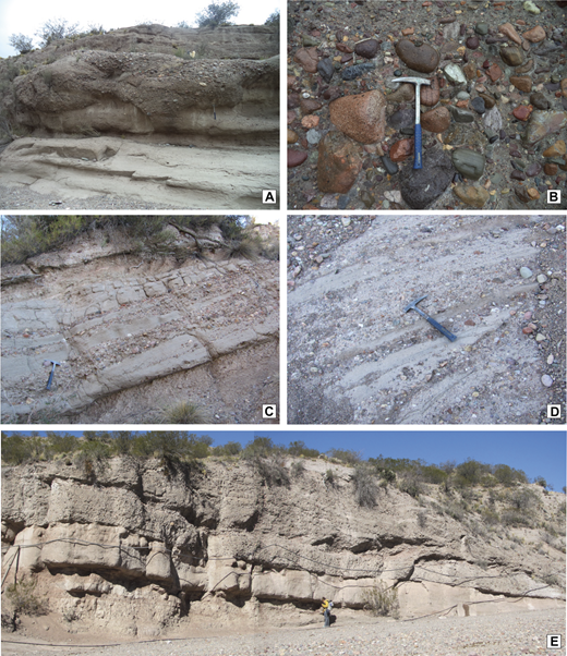 "Diagnostic field photographs of the La Pilona Formation facies associations (FA). (A) Erosive Mariño–La Pilona contact. (B) Boulder-cobble conglomerate of FA5. (C) ""Typical"" facies of the FA6, with stacked lobes of sand, conglomerates, and fines in no consistent order. (D) Detail of conglomeratic bars of FA6 with sandstone interbeds. (E) Coarsening-upward cycles within FA5."