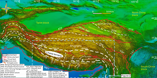 Tectonic framework of the Tibetan Plateau (modified after Kapp and Guynn, 2004; G.W. Li et al., 2016; Xu et al., 2015) showing the location of the Gangdese magmatic belt.