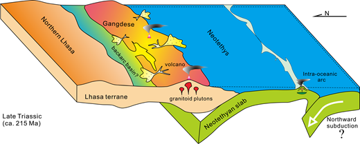 Geodynamic model for the double subduction system within the Neotethys in the Late Triassic.