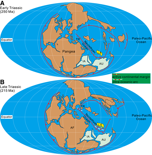 Paleogeographic reconstruction of the Neotethys during 250–215 Ma. (A) Early Triassic (ca. 250 Ma) paleogeographic reconstruction of the Neotethyan realm, showing the position of the Lhasa terrane. (B) Late Triassic (ca. 215 Ma) paleogeographic reconstruction of the Neotethyan realm, showing the intra-oceanic subduction system within the Neotethyan Ocean. Figures are modified according to previously published work (Cawood, 2005; Domeier and Torsvik, 2014; Ettensohn, 1997; Faure et al., 2016; Seton et al., 2012; Stampfli and Borel, 2002; Torsvik et al., 2012; Veevers, 2004; Wilmsen et al., 2009; Xiao et al., 2015). The relative position of the Lhasa terrane in the Late Triassic (ca. 215 Ma) is from Zhou et al. (2016). The notion of intra-oceanic subduction in the western part of the Neotethyan Ocean is from Sayit et al. (2015, 2017) and Tekin et al. (2016). Abbreviations: AF—African block; AU—Australian block; IA—Indian block; LA—Lhasa terrane; TR—Turkey terrane.