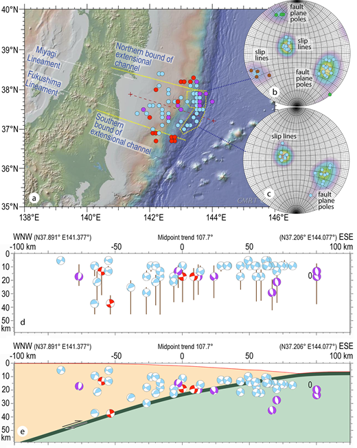 Relocated centroids on a map of the extensional aftershock channel (A) show normal faults closer inboard, with more accurate determination of the centroid moment tensors, and with scatter plots now showing the outermost normal faults consistently dipping landward (B, C). The cross sections (D) show centroids relative to the 1-D velocity model selected from (Zhao et al., 1990) with depth uncertainties as indicated. In (E), locations are corrected for increasing seawater depth. Thrusts are near the slab interface (red beachballs) with normal faults (light blue beachballs) scattered throughout the depth of the extensional channel. Slab normal faults beneath the margin began in the down-going Pacific plate, and ruptured upward through the megathrust. Left-lateral strike-slip faults (purple beachballs) formed in the down-going slab, parallel to the Median Tectonic Line. The plotted centroid depths do not lie in the center of the bars, because the bars represent the ranges of depths that are equally acceptable based on our chosen statistical criterion, namely that the variance reduction is greater than 90%.