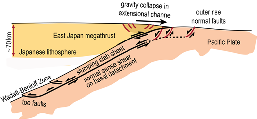Interpretation of slab normal faults as marking the headwall faults of Basin and Range style extension, with displacement linking to the lowermost of the double seismic zones in the subducting Pacific Plate beneath Japan. Seismic activity in the double seismic zone may delimit the base of a detachment-floored mega-slump.