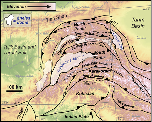 Overview map of the Pamir Mountains. CHMF—Chaman fault, MPT—main Pamir thrust. Gneiss dome locations adopted from Stearns et al. (2015).