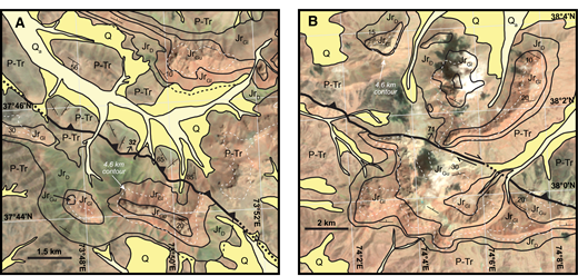 Mapping results and interpretation of Landsat imagery for parts of the South Pamir thrust belt, using a spectral band combination where dark red colors appear as green. Quaternary units have been colored yellow. A single topographic contour line (4600 m) is shown to help assess structural relief on the Cimmerian unconformity located between map units JrGl (lower unit of the Gurumdi Group) and JrD (Darbashatash Group). Paired white (right) and black (left) colors in panel B are clouds (white) and their shadows (black). Map units, symbols, and labels are the same as in Figure 3. Map locations for A and B shown in Figure 3.