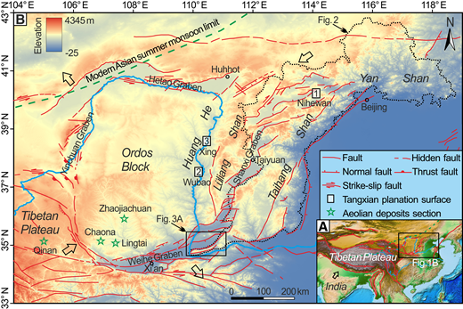 (A) Relationship between the regional epeirogenic uplift and the Tibetan Plateau uplift and Ordos region is in the stress field of NE to east to NNE principal horizontal compression during the late Cenozoic (Cheng et al., 2002; Deng et al., 2007). The upper and lower solid blue lines are the Huang He and Yangtze River, respectively. (B) Simplified tectonic map of the Ordos Block and Shanxi Graben System showing faults and four graben systems with faulted basins around the Ordos Block and locations of the referenced Tangxian planation surfaces and climate records from aeolian deposits sections. The distribution area of three planation surfaces is enclosed by a black-dotted line in North China. The pair of hollow arrows show principal compression or extension stress orientation. All the faults were active during the Quaternary. The green dashed line is the modern Asian summer monsoon limit (Chen et al., 2008).