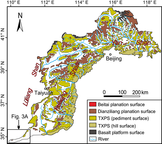 Distribution area of the Beitai, Dianziliang, and Tangxian planation surfaces of the mountain areas in North China modified from Wu (2008). 1—Wutai Shan; 2—Xiaowutai Shan; TXPS—Tangxian planation surface.