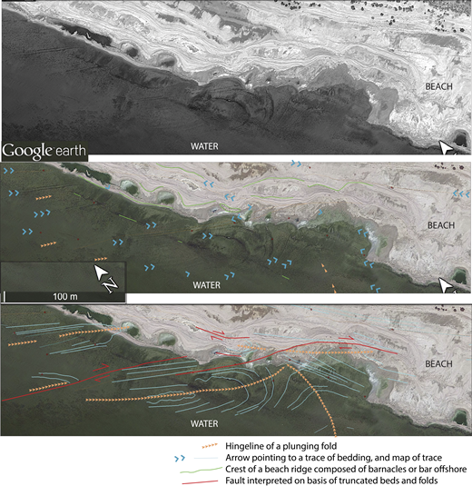 Annotated aerial image of the folded and faulted Brawley Formation exposed on the wave-cut terrace of Durmid beach in the ESF zone, in map view. Field work confirmed that the more resistant ridges on the beach are beds of the Brawley Formation. Hinges of plunging folds and bedding traces show that the northwest-trending structural fabrics of the transpressional ESF continue across the entire wave-cut platform and persist to at least 100 m offshore. Modern beach deposits are thin and mostly consist of wavy white beach ridges and intervening brown lagoonal mud. See Figure 2 for the location of this scene.