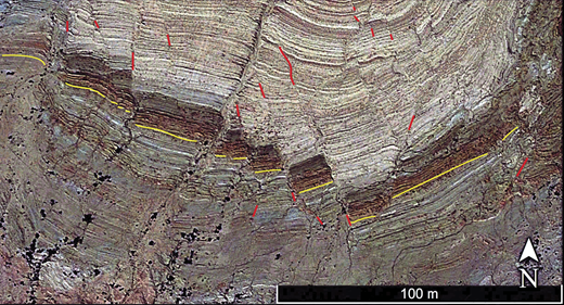 Annotated false color image of distributed faults (red) within the Durmid ladder structure. The yellow-brown marker beds of the Brawley Formation are displaced by many small right-lateral faults and a few left-lateral ones. Resistant beds in fault blocks superficially resemble boudins, but lack ductile thinning. See Figure 2 for location.