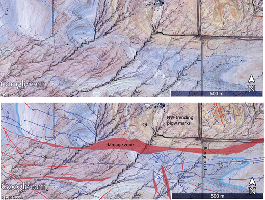 "Uninterpreted (above) and interpreted (below) false color aerial photograph of some cross faults in the Durmid ladder structure. Both narrow (red lines) and wide (red polygons) left-lateral strike-slip faults connect the two strands of the SAFZ that are adjacent to this scene. The thick light blue lines highlight a key marker bed in the Brawley Formation that is displaced ∼ 1 km by an east-striking fault. Notice how many of the most laterally continuous fold axes (dark blue lines) roughly parallel the fault zones. The syncline that intersects the word ""road"" follows along the widest left-lateral fault zone for ∼ 1 km. Qb—Brawley Formation. See Figure 2 for location."