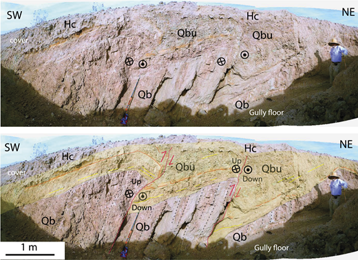 Annotated photograph with (below) and without structural interpretations (above) showing a faulted angular unconformity that formed during growth faulting along the eastern margin of the ESF. This zone expresses transpression. Less deformed Holocene and Pleistocene Upper Brawley Formation (Qbu) lies in angular unconformity on steeply southwest-dipping Lower Brawley Formation (Qb), and both are displaced by faults in the ESF. The ∼ 0.5 to 1.5 m of reverse-separation across each fault occurs along a fault that has a flat-on-flat geometry below the unconformity. Dip-slip slickenlines are more plentiful than oblique-slip or strike-slip slickenlines, and there may be strain partitioning in this top-to-the-northeast fault zone. Several other faults are outside the view. Hc—latest Holocene to modern cover. Dashes define bedding traces below the unconformity, whereas yellow lines are above it. The orange line is an iron-rich marker bed. See Figure 2 for location.