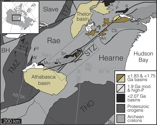 Regional context for the south Rae craton, highlighting 1.9 Ga moderate- to high-pressure rocks from Berman et al. (2007). STZ—Snowbird tectonic zone, TMZ—Taltson magmatic zone, TTZ—Thelon tectonic zone, THO—Internides of Trans-Hudson orogen (Sask craton not shown for clarity), BH—Buffalo Head craton, Su—Superior craton, Cb—Chesterfield block, A—Amer Group, P—Penrhyn and Piling Groups, K—Ketyet River Group, Sn—Snowbird domain metasedimentary rocks, G—Grollier Lake metasedimentary rocks, Mu—Murmac Bay Group, H—Hill Island Lake assemblage, W—Waugh Lake Group, R—Rutledge River basin, A—Lake Athabasca, An—Angikuni Lake, D—Dubawnt Lake. Canadian Provinces: AB—Alberta, SK—Saskatchewan, NWT—Northwest Territories, NU—Nunavut, and MB—Manitoba. Dashed line is westernmost exposure of the Canadian Shield; dotted box is the outline for Figure 2.