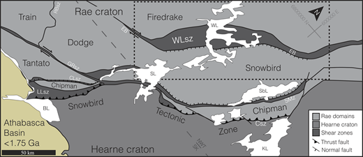 """Geology of the Rae-Hearne boundary along the central Snowbird tectonic zone. The Wholdaia Lake shear zone (WLsz) separates the Firedrake/Train domain from the Snowbird/Dodge domain. """"EB"""" refers to easterly bends of the WLsz as discussed in text. Major lakes for reference are: WL—Wholdaia Lake, SbL—Snowbird Lake, KL—Kasba Lake, SL—Selwyn Lake, and BL—Black Lake. Other shear zones include: RBsz—Ryckman Bay shear zone, GRsz—Grease River shear zone, CLsz—Cora Lake shear zone, LLsz—Legs Lake shear zone, SMz—Striding mylonite zone, and Csz—Chipman shear zone. Coordinates are in Universal Transverse Mercator (UTM) North American Datum 1983 (NAD 83). SK—Saskatchewan, NWT—Northwest Territories."""