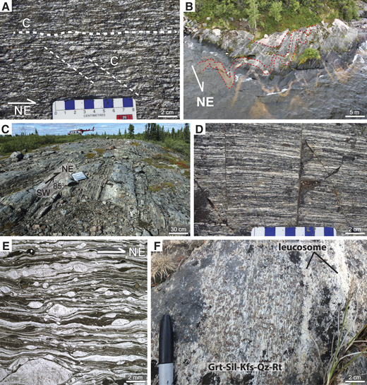 (A) C- and Cʹ-type dextral shear bands developed in ST2 tonalite mylonites from an island shown in B. (B) Aerial view of deformed dikes within ST2 tonalite mylonite. (C) Ultramylonite developed along the northern easterly bend (EB of Fig. 3) of the Wholdaia Lake shear zone. (D) Highly deformed interlayered mafic and felsic components of an ultramylonite close to area in C. (E) Photomicrograph of an ultramylonite (from part C) that preserves fine-grain sizes and lacks substantial thermal annealing textures. (F) Outcrop photo of Snowbird domain migmatitic metasedimentary gneiss 15ET273b sampled for detrital zircon geochronology. Mineral abbreviations are according to Whitney and Evans (2010).