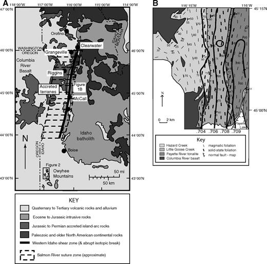 (A) Regional map showing the location of the Salmon River suture zone and the western Idaho shear zone in west-central Idaho (modified from Tikoff et al., 2001). Western Idaho shear zone follows the dashed line of the (87Sr/86Sr)i. Owyhee Mountains field area is marked. (B) Geologic map area of the McCall segment of the western Idaho shear zone (Giorgis et al., 2006b).