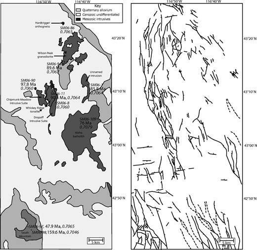 Left: Map of the Owyhee Mountains showing sample locations for geochronologic studies. Locations are labeled with the site number, the U-Pb date (where possible), and the initial strontium ratio. Right: Normal faults (solid) and inferred normal faults (dashed) in the Owyhee Mountains (modified from Ekren et al., 1981).