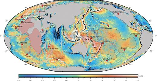 Ocean gravity map with present-day localization of studied hotspots indicated by red dots. The Eifel hotspot is shown as example of the widespread European magmatism (Lustrino and Wilson, 2007). See Hillier (2007) for location of Pacific seamounts. Shaded areas show the locations of the Pacific and African lower-mantle shear wave anomalies (2850 km depth; Ritsema et al., 1999). Color scale is free-air gravity in mGal.