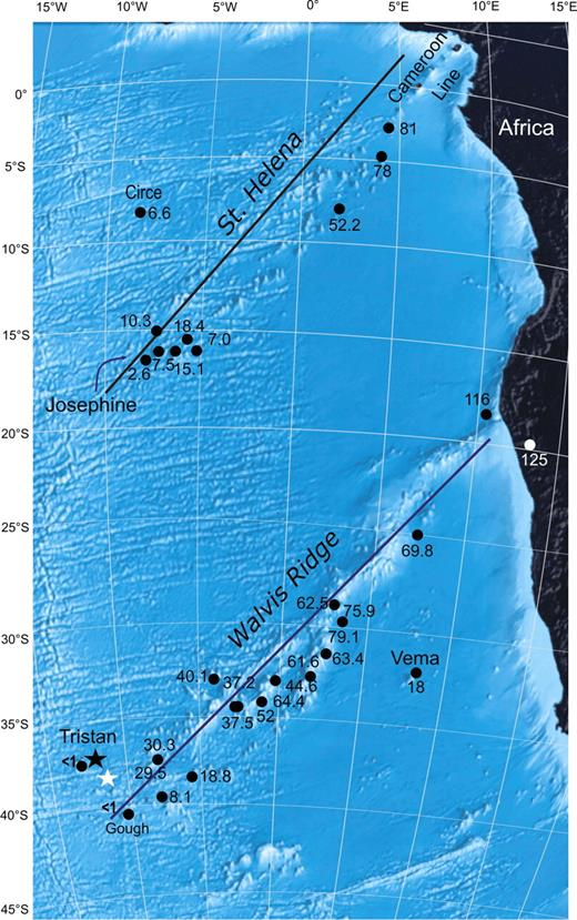 Seafloor topography along the St. Helena and Walvis chains (from Google Earth, bathymetry), and published volcanic ages (in Ma; from O'Connor and Duncan, 1990; O'Connor and le Roex, 1992). Black lines indicate the traces used to study the temporal evolution of hotspot fluxes (Adam et al., 2007). The white and black stars indicate the present-day location of the Walvis plume inferred by Courtillot et al. (2003) and Steinberger (2000), respectively.