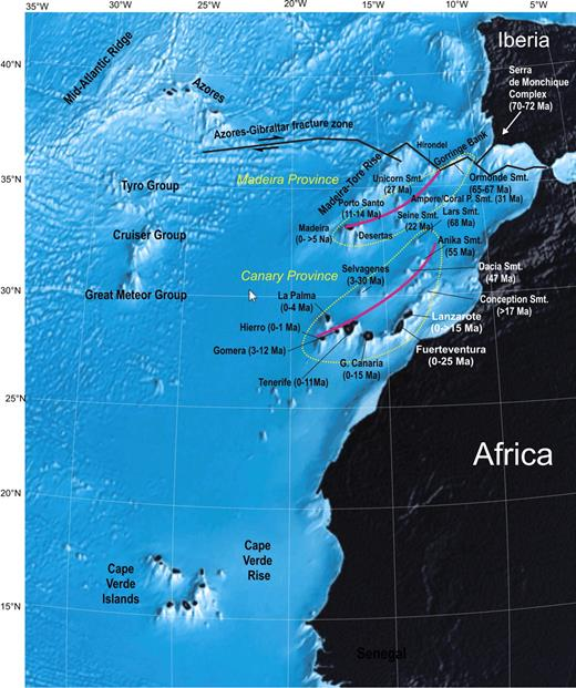 Location of the Cape Verde, Canary, Madeira, and Azores hotspots (seafloor topography from Google Earth, bathymetry). Hotspot tracks (in red) and ages for the Canary and Madeira hotspots are from Geldmacher et al. (2005, 2006).