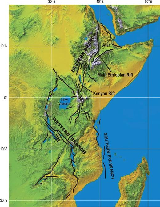 Location of the Afar–East African tectono-magmatic province. Geographical map is based on National Aeronautics and Space Administration (NASA) radar topography image, and main geological features are from Chorowicz (2005). Black lines—faults.
