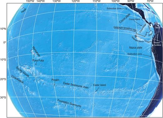 Location of the Galápagos and Easter hotspots, as well as other Pacific seamounts (seafloor topography from Google Earth, bathymetry).
