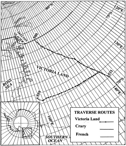 Route of the Victoria Land Traverse from the head of the Skelton Glacier, northwest across northern Victoria Land to the end point of the French Traverse, at station 531, and east to the USARP Mountains at station 559.