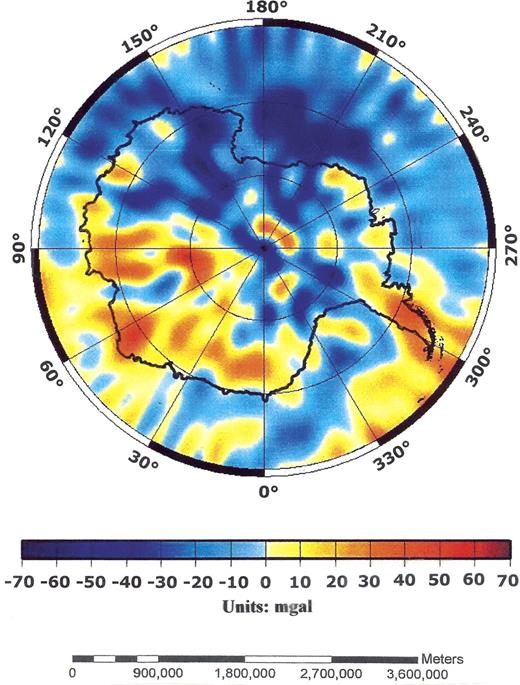 Antarctic free-air gravity anomaly map showing the pattern, distribution, and relative locations of negative free-air gravity anomalies (blue), and the largely positive free-air gravity anomalies (yellow) mainly offshore and around the Antarctic continent.