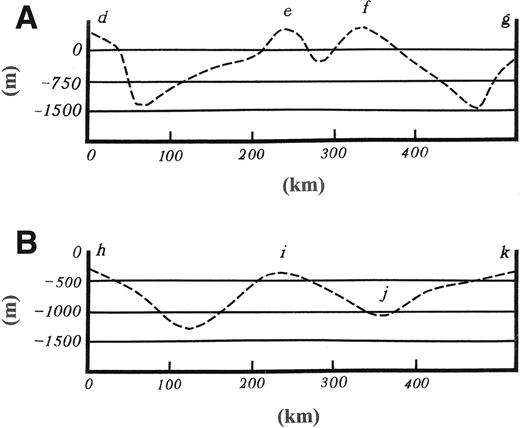 Subglacial topographic profiles in the vicinities of negative free-air gravity anomalies shown in Figure 1 (from radiosound data). (A) Anomaly A in Figure 1. (B) Anomaly B in Figure 1.